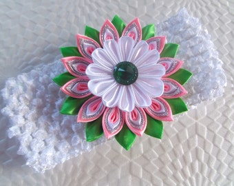 Baby Headband  Headband with Kanzashi flower from fabric  White