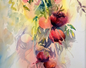 Giclee Print Watercolor; Fruit; Pomegranate; Pomegranates; Wall Art; Red; Vertical; Prints; Still Life