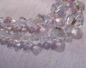 Vintage Clear Bead Necklace, Double Strand beaded necklace