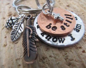 hand stamped keychain//Be Still and Know I am God keychain//God keychain//Be Still key chain//stamped key ring//Inspirational gift