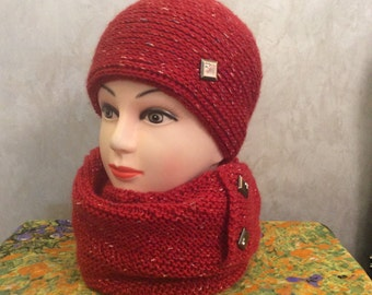 "Set hat and scarf-snood ""Terracotta"""