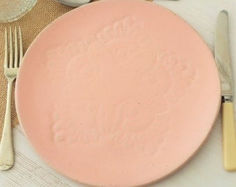 Handmade ceramic dinner plate, vintage lace, pink plate, serving plate, pink pottery plate, handmade plate, dinnerware, kitchen, dining