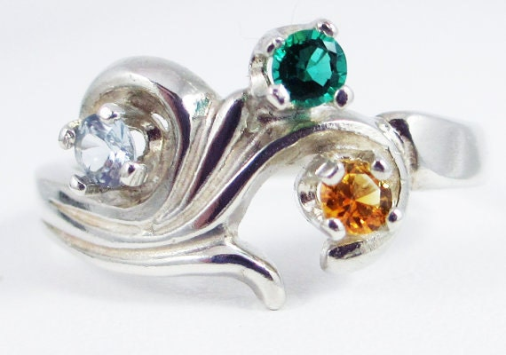 aquamarine citrine and emerald mothers ring sterling by