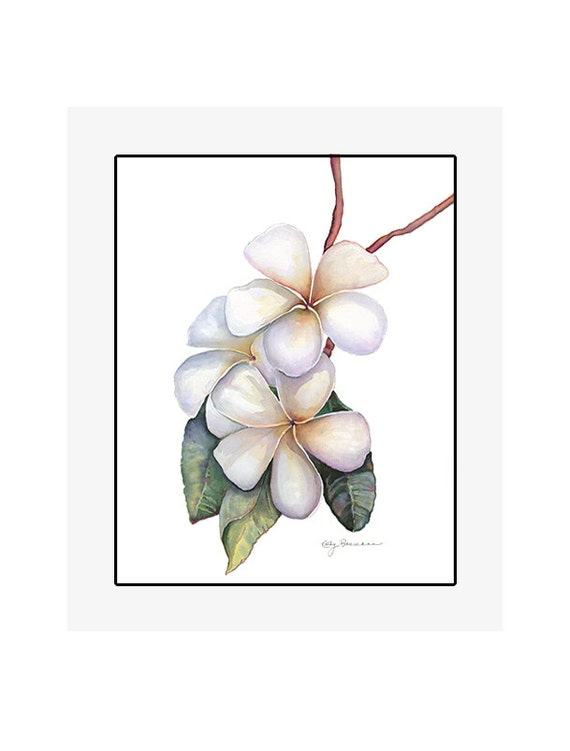 """Plumeria original watercolor painting on 300 lb cold press paper, 20"""" x 24"""" matted and backed, artist Kathy Baumann"""
