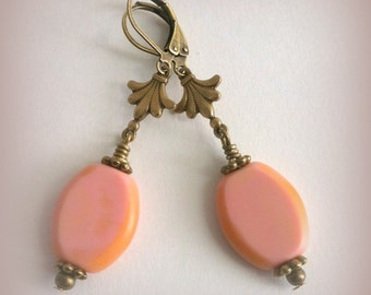 Pink Picasso Czech Beads, vintage inspired dangle earrings