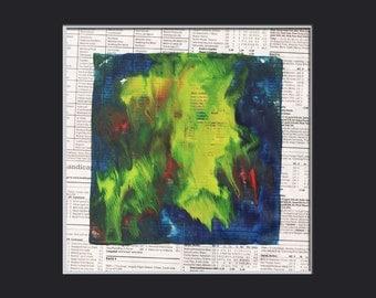 encaustic original painting  monoprint art Title: THE OCEAN TIMES 1-4  blue green yellow
