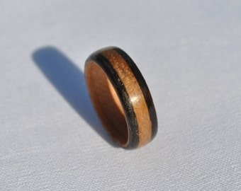 Handmade Ebony & Cherry Bentwood Ring