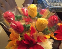 Edible Chocolate Rose Arrangement with silk flowers- MADE TO ORDER- perfect for any occasion