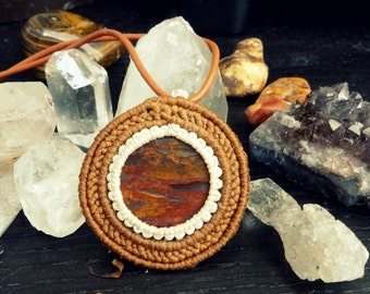 tiger iron macrame pendant, tiger iron macrame necklace, macrame gemstone necklace