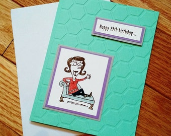 Birthday card, Funny Birthday card, Birthday Card for her, Best Friend Birthday card, Hand stamped card, Handmade card, greeting card