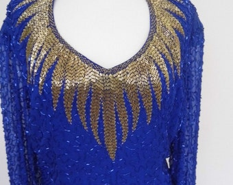 REDUCED 1980s beaded blue and gold evening dress size 14