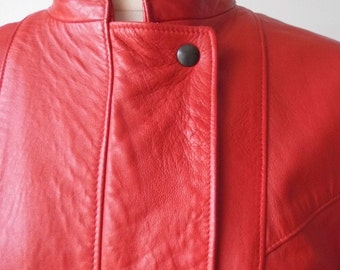 1980s Red Leather Jacket by St Michael size 12-14