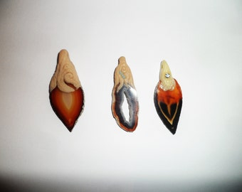 Agate pendant and polymer ariglla