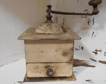 Rustic Wooden 'Shabby Chic' French Coffee Grinder from the 1940's.