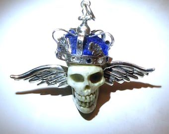 Sterling Silver Winged Crown & Carved Skull Pendant