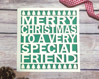Special Friend Christmas Card, Papercut Christmas Card, Christmas Card Friends, Bestie Card, BFF Card, Christmas, Friends, Christmas Gift