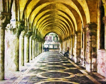 St Marks Square, Venice Italy, Arches In St Marks Square, Yellow Gold Arches Venice, Venice Art, Wall Decor Venice, Fine Art Photo