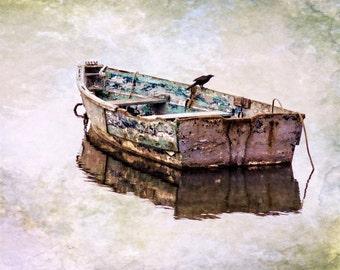 Cape Cod, Row Boat, New England Coast, Chatham Rowboat Photo, Boat And Bird, Blue Textured Boat, Cape Cod Wall Art, Textured Photo