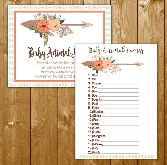 Tribal Baby Animal Names Game For A Girl Baby Shower Games