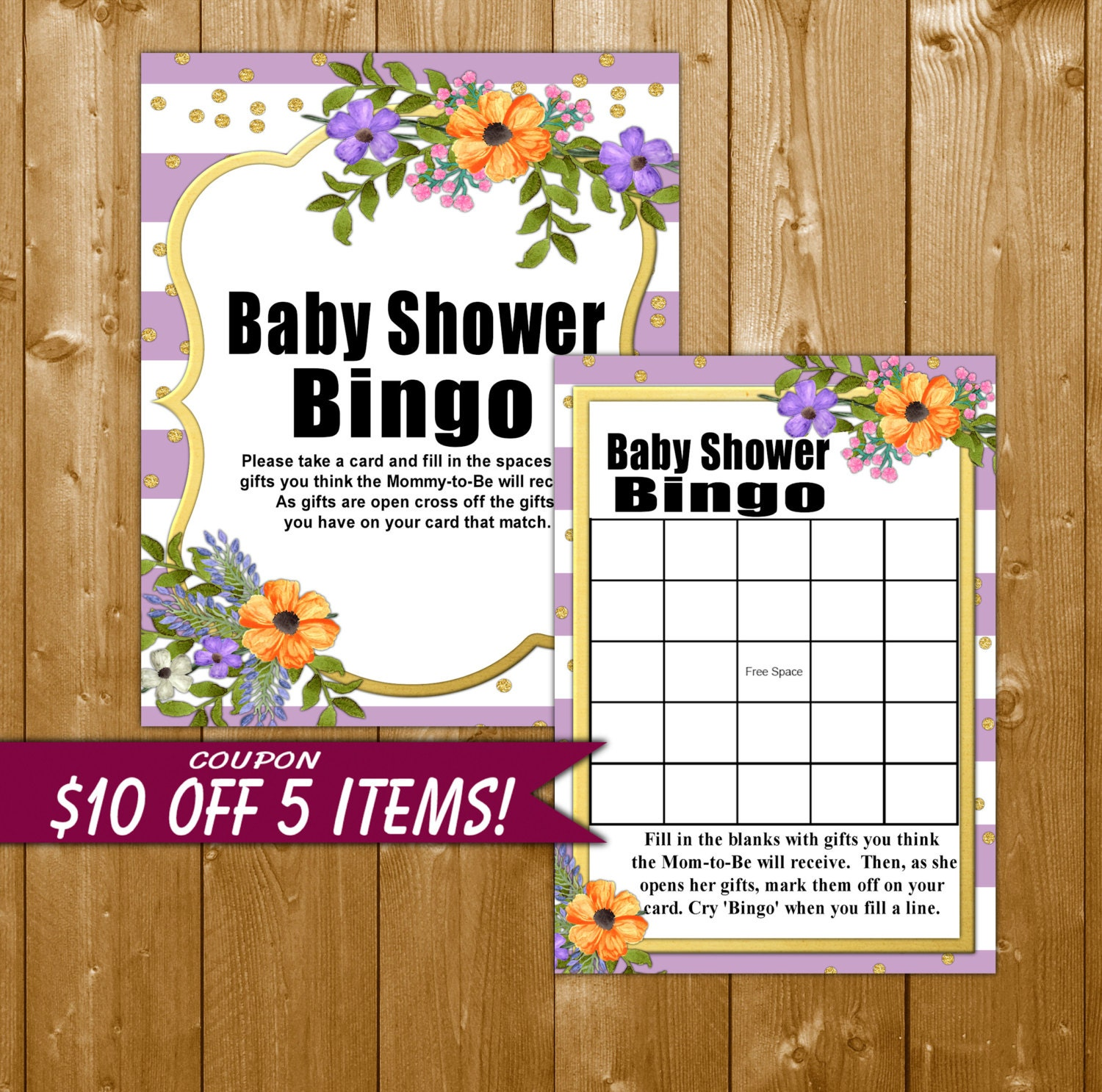 floral baby shower bingo lavender and gold baby shower bingo