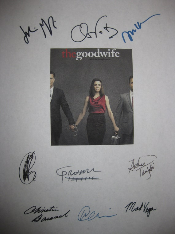 The Good Wife Signed TV Script Screenplay X9 Autographs Julianna Margulies Josh Charles Chris Noth Archie Panjabi Christine Baranski