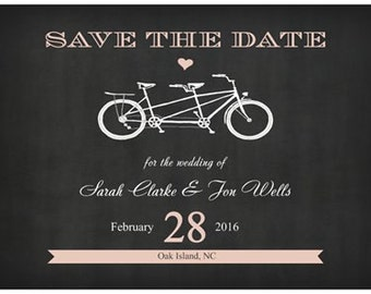 Wedding Save the Date Cards Horizontal Flat Bike Bicycle Postcards  Chalkboard