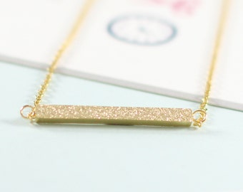 Gold Shimmer Bar Necklace, Subtle Bling Necklace, Gold Bar Necklace,