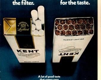 1970s Kent cigarettes vintage magazine ad wall decor man cave decor