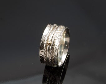 Hand Made Silver Spinning ring with 9ct gold Beads