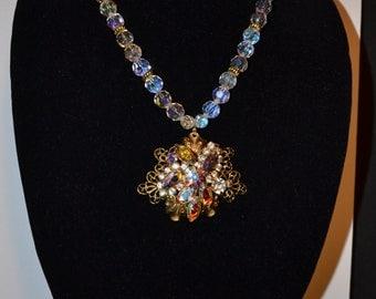 Vintage aurora borealis necklace  (#3)