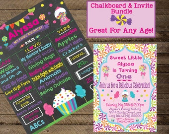 Candy Chalkboard, Girl's Candy Birthday Party, Candy Theme party, candy land, Candy Invite, Birthday Chalkboard, First Birthday, Second bday