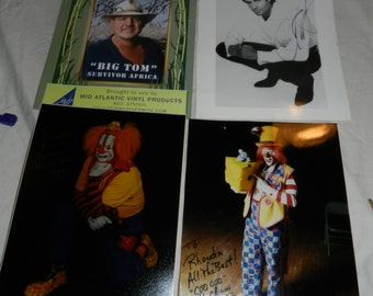 4 Autographed Photos - Buttons the Clown, Coo Coo the Clown, David Copperfield, and Big Tom of Survivor TV Show                         2-17