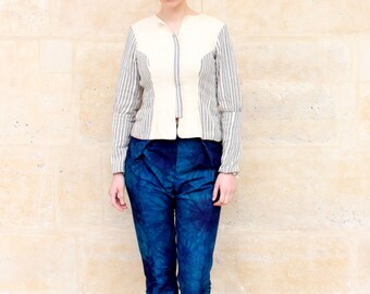 Jacket in cotton in basque with puffed sleeves