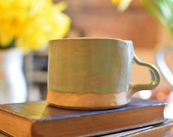 Short stout rustic handmade ceramic cup