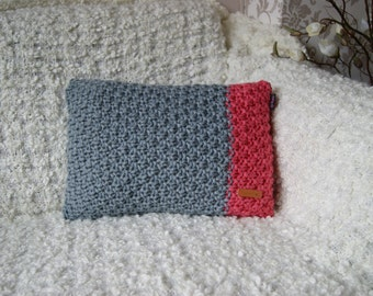 Grey-coral red pillow