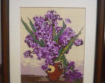 lilac bouquet cross stitch picture (Букет сирени)