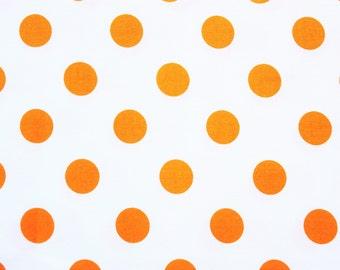Polka Dot Fabric / Dear Stella / Medium Size Dot /White Orange / Cotton / Sewing Quilting Patchwork Dressmaking / Half Metre