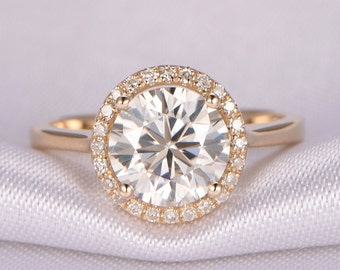 1.5ct Round Moissanite Engagement Ring 7.5mm Round Cut Moissanite Ring 14k Yellow Plain Gold Band Bridal Ring Promise Ring Propose ring