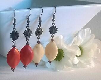 burnt orange and cream sunflower earrings