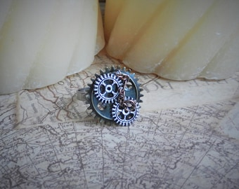 Chain and Gear Steampunk Ring