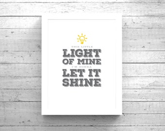 Scripture Wall Art + Bible Verse This Little Light of Mine Instant Download
