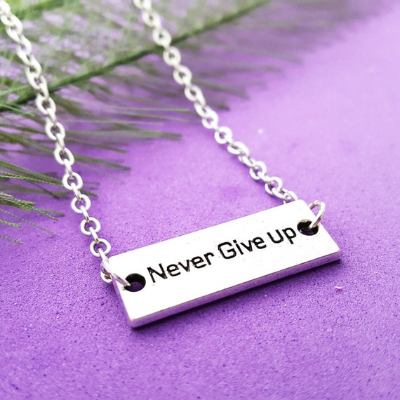 NEVER Give Up Bar Charm Necklace, CrossFit Jewelry, Fitness Sports Jewelry, Inspirational Motivational Word Charms, Coach Team Athlete Gifts