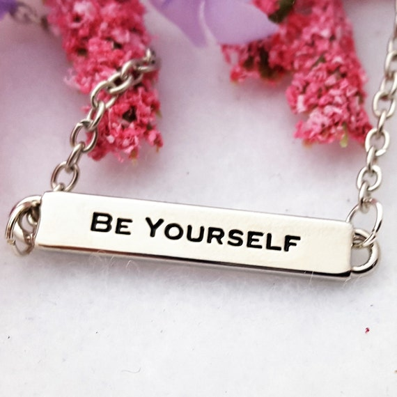 Jewelry Gifts for Teens, Be Yourself Gift, Bar Charm Necklace, Inspirational Sports Teams Gifts, Motivational Quote Jewelry, Word Bar Charms