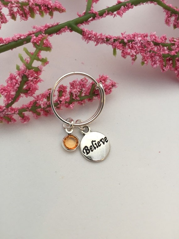 BELIEVE Inspirational Word Charm Ring, CrossFit Jewelry, Gifts for Runners, Fitness Sports Ring, Personalized Customized Birthstone Jewelry