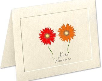 Gerber Daisy Personalized Note Cards, Embossed Panel Linen Finish Stationery, Red Flowers, Pesonalized Stationery Set, Thank You Cards