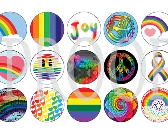 Digital Bottle Cap Image Sheet - Rainbow - 1 Inch Digital Collage - Instant Download