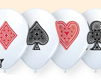 """Card suits  11"""" Latex Balloons , hearts , clubs spade diamond , woderland party"""