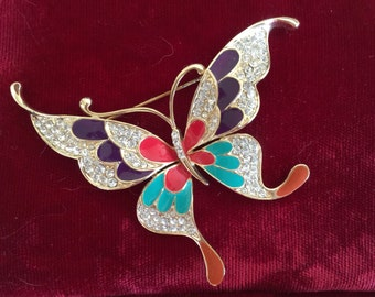 Butterfly Brooch, Vintage, Rhinestone and enamel.  1980s