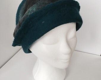 Felted Merino Wool cloche hat,