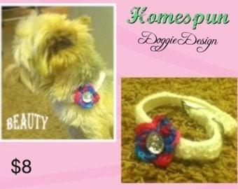 Hand crocheted adjustable dog collar